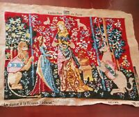 Vintage Wool Tapestry Unicorn Lady Lion Girl Princess Red Needlepoint France