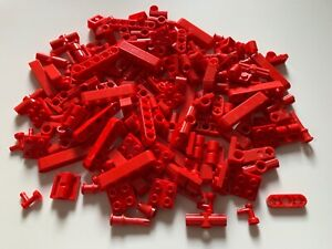 180 original LEGO PARTS red TECHNIC beams connectors as in the picture lot
