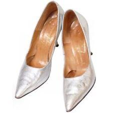 Vintage Tiny Ackerman Shoes Silver Metallic Leather Stiletto Heels 1950S 7.5