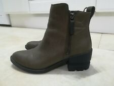 Aldo Green Leather Ankle Block Heel Boots Shoes size uk 4 eu 37.