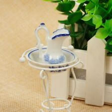 1:12 Dollhouse Miniature Bathroom Set Iron Wash Basin+Kettle Metal Ceramic Kit