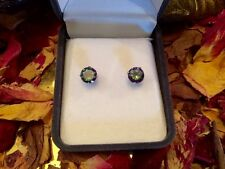 Remarkably vibrant Rainbow Mystic Topaz 5mm sterling silver stud earrings 👑