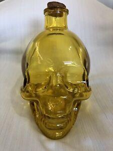 Yellow Glass Skull Head Container Cork Top Unique Decor Gift Idea! GLOBAL SHIP