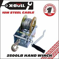 X-BULL 2500LBS Hand Winch Steel Cable/4WD Boat Trailer Manual Winch/2-Speed