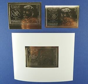 Raumfahrt Space 1969 Sharjah Chaffee Gold 543 A/B + Block 51 im Folder MNH / 766
