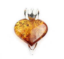 925 STERLING SILVER BALTIC AMBER HEART SHAPE PENDANT CERTIFIED SUPPLIER GL228