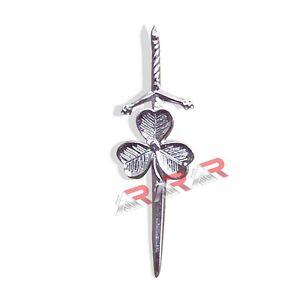AAR Shamrock Irish Kilt Pin Silver Chrome Finish Accessory Kilts Sporrans Hoses