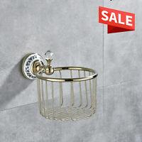 Luxury Gold Brass Toilet Paper Holder Tissue Paper Towel Rack Basket Wall Mount