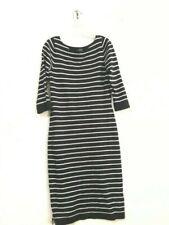 The Limited Black Cream Stripe Sweater Dress Women Size XS Wool Boat Neck Stylis