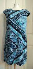 Donna Ricco New York Lined Dress Size 10 Blue /Black