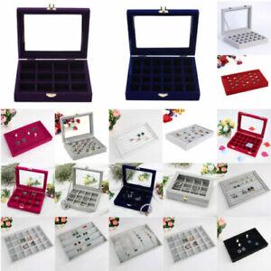 Velvet Jewelry Earring Stud Display Tray Organizer Holder Storage Box Case Cover