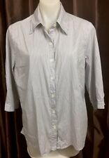 NONI B Button Front Striped Casual Collared Shirt Blouse Women's Size 14