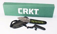 CRKT Akari Fixed Blade Knife Neon Green Faux Ray Skin Handle Plain Edge 2480
