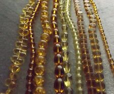 MIXED LOT GLASS BEAD STRANDS (9) AMBER TEAR DROP ROUND CUBE CRACKLE GLASS