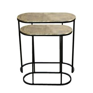 Set of 2 OLIVIA 44 and 52cm Wide Nesting Oval Side Tables - Brass
