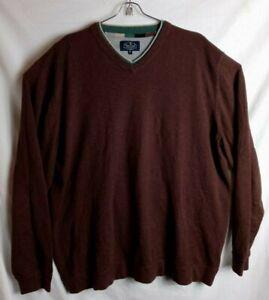 Nat Nast Men XL Brown Cashmere Blend Pull Over V Neck Sweater