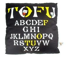 BLACK ALPHABETS TO-FU OYAKO DESIGNER PLUSH PILLOW CUSHION TOFU DEVILROBOTS