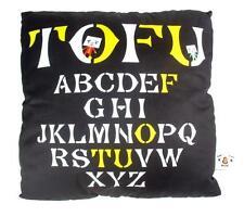 BLACK ALPHABETS TO-FU OYAKO DESIGNER PLUSH PILLOW CUSHION TOFU DEVILROBOTS