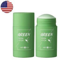 Green tea purifying stick mask clay oil control eggplant fine solid mud cream