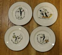 "Set #1 - 4 POTTERY BARN Penguins 7 3/4"" Cocktail Dessert Salad Plates"