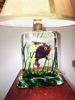 RARE & WONDERFUL MURANO LAMP CENEDESE 1940s FISH AQUARIUM STUNNING ITALIAN ART!!