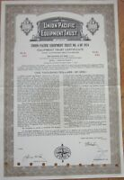 1974 Railroad Bond Certificate: 'Union Pacific Equipment Trust'