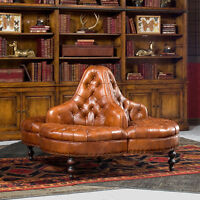 Elegant Library Hotel Lobby Tufted Columbia Brown Leather Sofa -Chair,57''D.