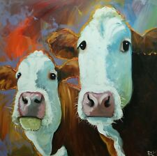 "Cows 519 - 30x30"" original oil painting by Roz"