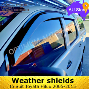 Black Tinted Weather Shields Windows Visors so suit Toyota Hilux N70 2005-2015