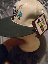 VTG FELIX THE CAT BLOCKHEAD AMERICAN NEEDLE HAT CAP TOON LEATHER STRAP LONG BILL