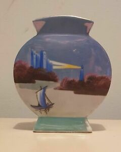 Vintage Noritake Porcelain Jug - Hand Painted - lighthouse, sailboat, castle