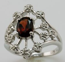 Genuine Garnet and Diamond Sterling Silver Ring Size 7.5