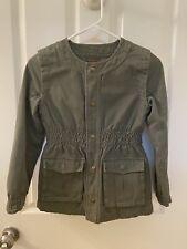 Tea Collection Girls Scoop Neck Green Adventure Cargo Jacket Size Large 8-10