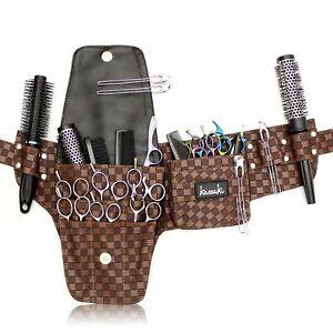 Professional Hairdressing Scissor Tool Belt Waist Pouch shear Storage Case Brown