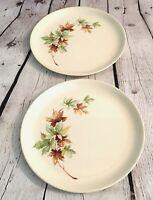 2 Vintage Mid Century Salem Maple Leaf China Dinner Plates