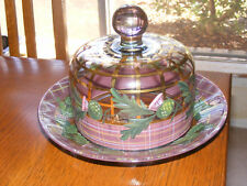 RARE MacKenzie Childs THISTLE SPARTAN Covered Cheese Dish Dome RETIRED VHTF