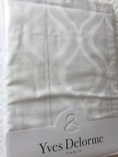 Yves Delorme NEVE  BLANC DAMASK SATIN King Superking FLAT Sheet