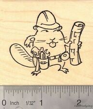 Builder Beaver Rubber Stamp with Construction Worker Tools and Plans  J16711 WM