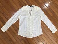 Eddie Bauer Women's Beige Lace Front Button Down Shirt Blouse Top Size L