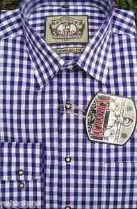 Trachtenhemd in Baumwolle lila weiss M-L-XL-2XL Neu