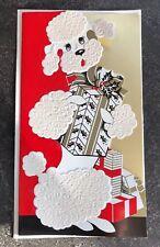 VINTAGE WHITE POODLE CHRISTMAS CARD FLOCKED UNUSED DOG XMAS GIFTS  W/ENVELOPE
