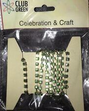 Celebration & Craft Rhinestone Diamanté Chain Green Silver Bouquets Corsage Trim