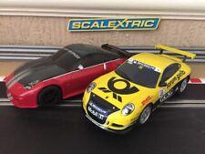 Scalextric Nissan 350z & Porsche 997 Fully Serviced & New Braids Excellent