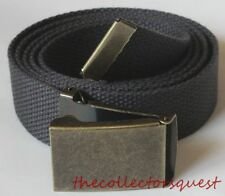 "NEW BRASS FLIPTOP ADJUSTABLE 56"" INCH GREY CANVAS MILITARY GOLF WEB BELT BUCKLE"