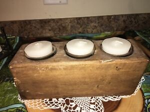 THREE 3 HOLE WOODEN SUGAR MOLD W White CANDLES METAL INSERTS Farmhouse Rustic