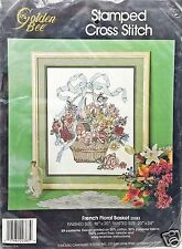 Stamped Cross Stitch French Floral Basket Sampler New Vintage 1990