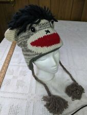 Punk Rock SOCK MONKEY HAT knit ADULT costume FLC LINING helmet head