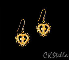 *Ckstella* Heart with Cross Gp Dangle 14K Gold gf Ear Wire Earrings