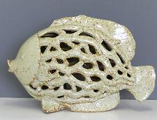 Pesce ceramica beige panna traforato anticato decorazione soprammobile