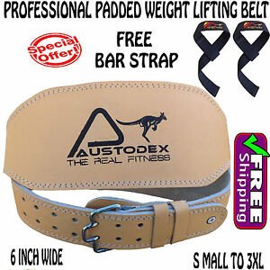 """6"""" back support Weight lifting bodybuilding weightlifting Leather Belt &BarStrap"""